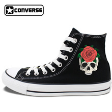 Original Mens Womens Skateboarding Shoes White Black Converse All Star Shoes Skull Red Rose High Tops Canvas Sneakers JH317 05