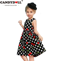 CANDYDOLL Summer Girls Dress Baby Cotton Cherries Print Dot Bow vestido Children Vest Knee-length Clothing For Party