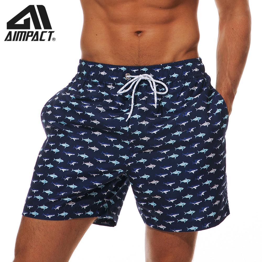 Cat and Fish Print Swim Trunks Summer Beach Shorts Pockets Boardshorts for Men