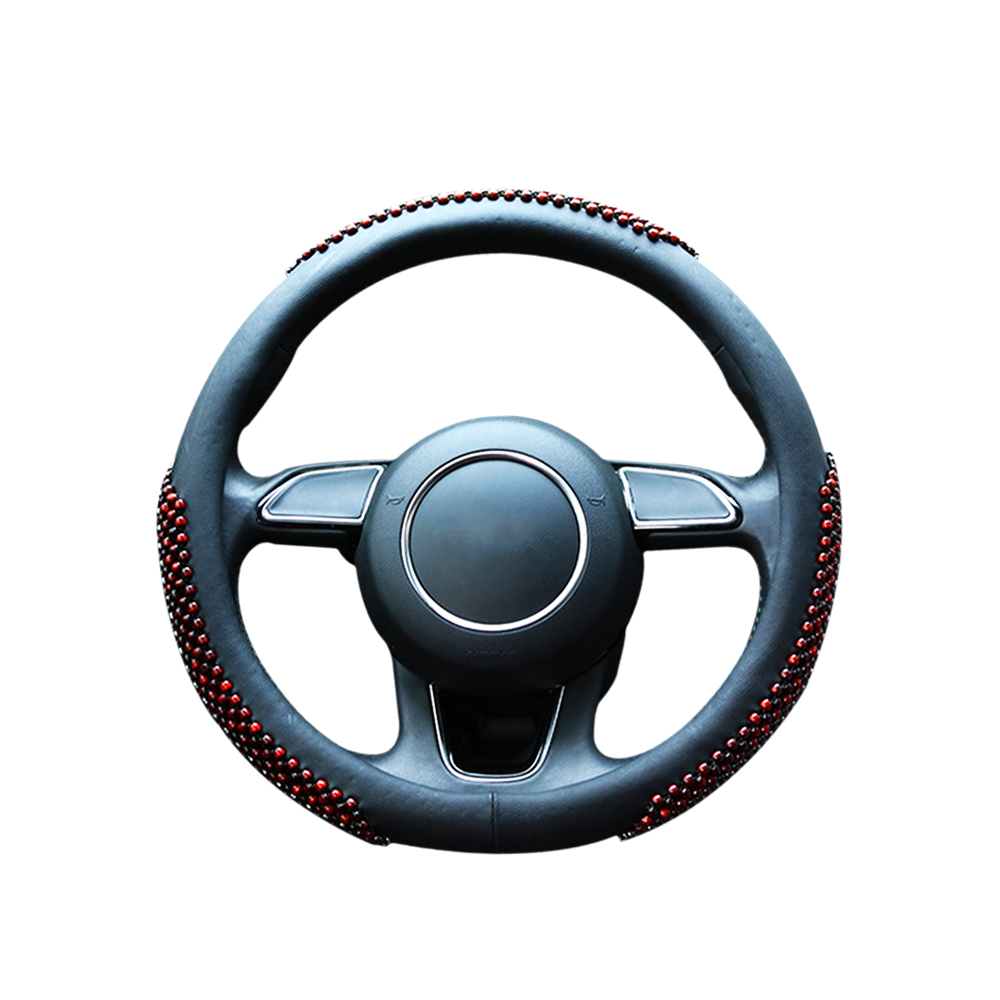 Cool Steering Wheel Covers Wood Bead Style Leather Car Steering Wheel Cover Suit For Summer 38cm Braid Car Handlebar