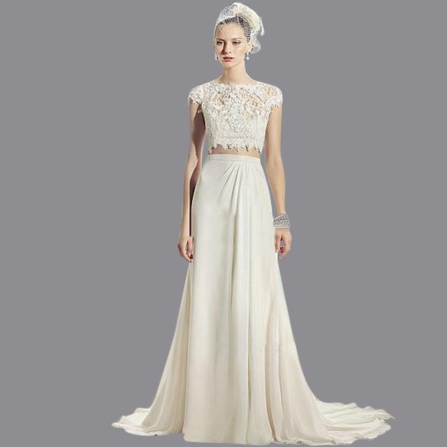 מפוארת חמה למכירה אלגנטית שווי שרוול תחרת שמלת כלה שני חלקים 2016 אורך ON-85