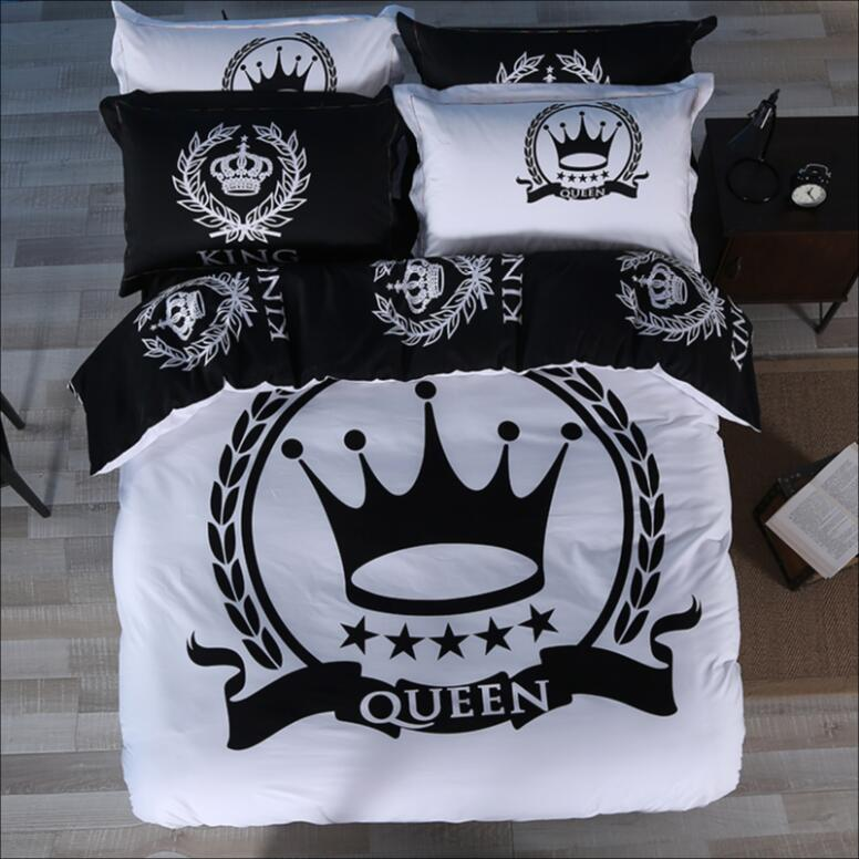 black and white crown bedding set king queen size luxury 3 4pcs 100 cotton duvet quilt cover. Black Bedroom Furniture Sets. Home Design Ideas