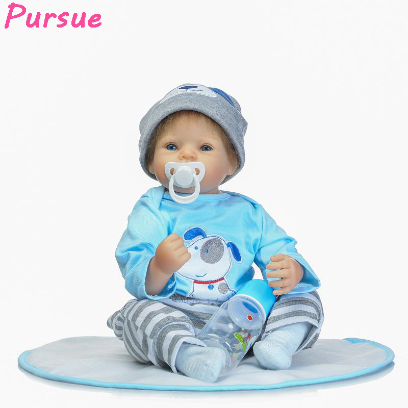 "Pursue 22""/55cm Reborn Babies Blue Eyes Brown Hair Soft Body Silicone Limbs dolls that look real fake babies for sale Child Gift"