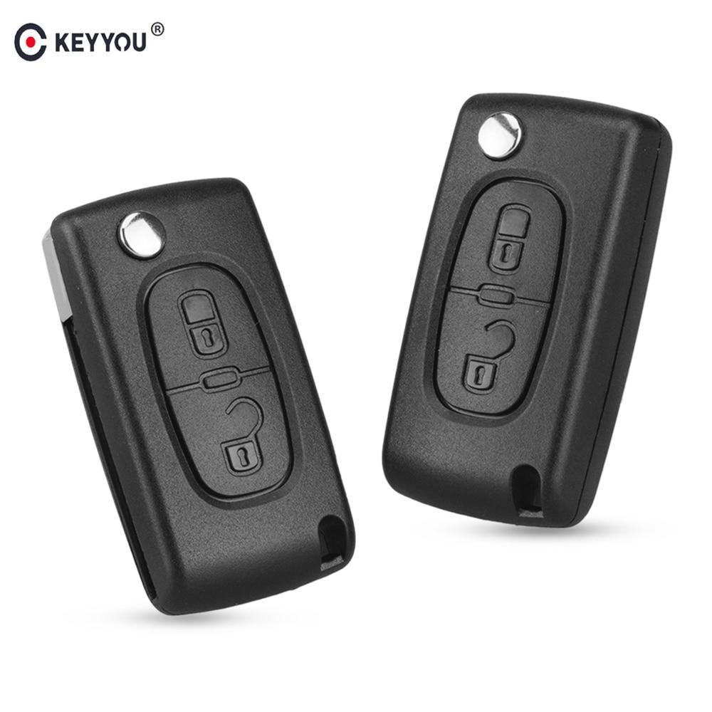 KEYYOU Flip Folding 2/3 Button Car Remote Key Case Shell For PEUGEOT 206 307 308 207