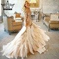 Marabú vestido de fotografía de bodas de oro de las colmenas de cristal largo vestido de novia 2017 de imagen real vestidos de novia serene hill