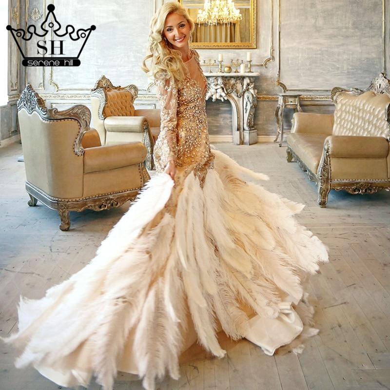 ostrich feathers wedding dress photography gold ruffles crystal long bride dress 2017 wedding dresses serene hill