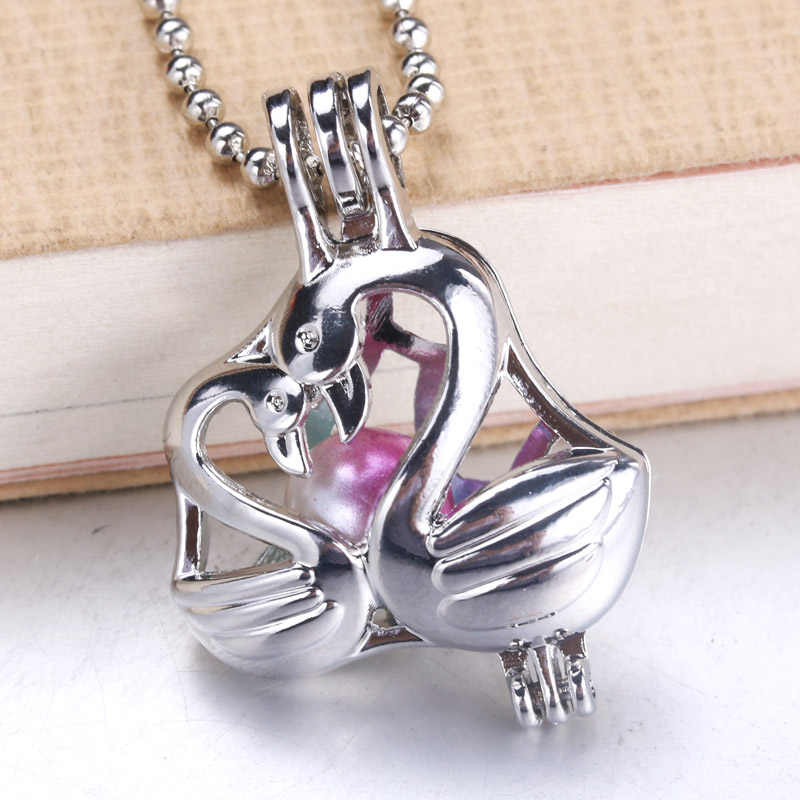 6pcs Bright Silver Beautiful swan Pearl Cage Pendant Aroma Diffuser necklace Pendant Locket Wholesale Jewelry Gifts