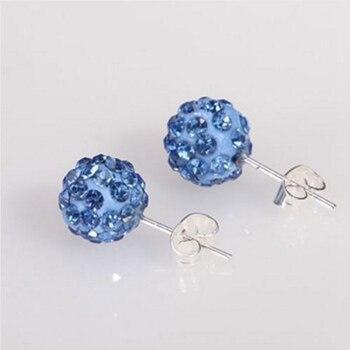 19 colores 10MM Rhinestone pendientes Micro Bola de discoteca de cristal Stud pendiente para las mujeres joyería de moda