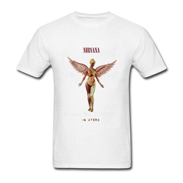 569cfdcb Cheap Hombre Black Mens Shirt Nirvana In Utero Kurt Cobain Rock Band Tee  Shirt Men's T Shirts Crewneck T Shirt Mens