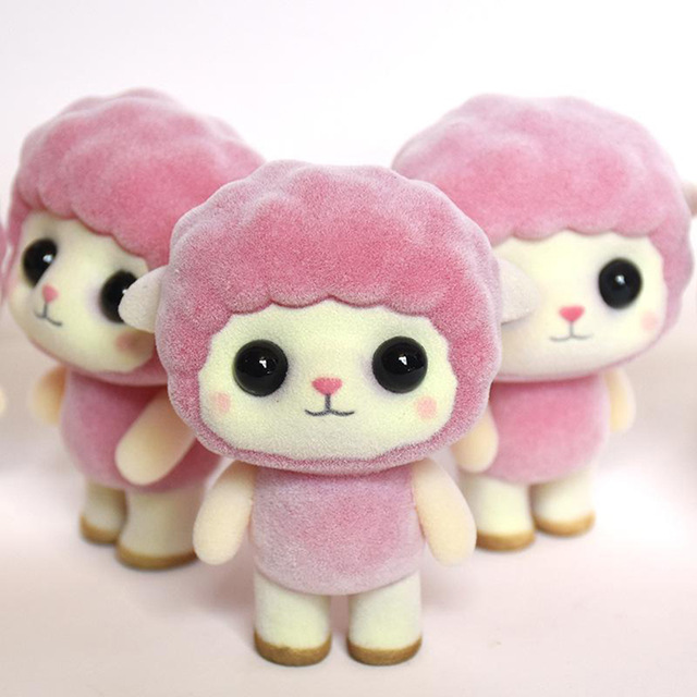 Pink Cute Mini Sheep Flocking Dolls Novelty Creative Soft Home Decorations Plastic Toys For Baby Popular Toys Gifts