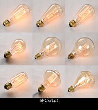 6 pcs/lot vintage lamp E27/E14 edison light bulb 110V/220V ampoule for home/bedroom/living room decor 40W/60W incandescent bulb(China)