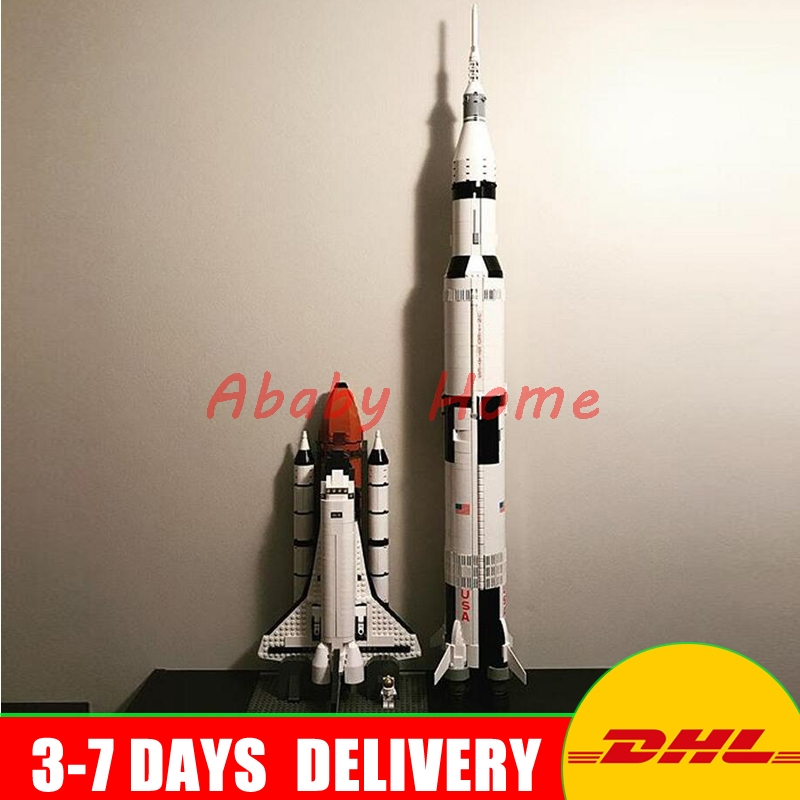 In Stock LEPIN 16014 Space Shuttle Expedition+ 37003 Apollo Saturn V Launch Vehicle Model Building Blocks Bricks Toy 10231 21309 lepin 16014 1230pcs space shuttle expedition model building kits set blocks bricks compatible with lego gift kid children toy