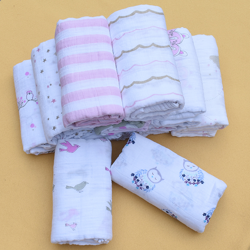 120x120cm Muslin Cotton Baby Swaddling Blanket Infant Cotton Swaddle Towel Baby Swaddles For Newborn Baby Blanket 200g ...