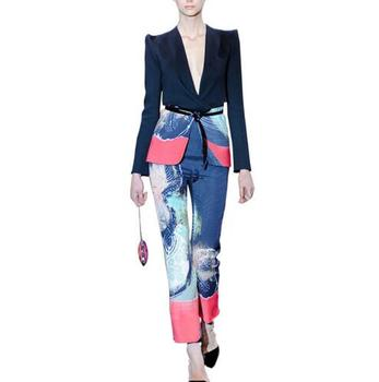 New Plus Size 2 Piece Women Floral Print V Neck Short Work Business Blazer Jacket + Pencil Pant Suit Office Lady Suit