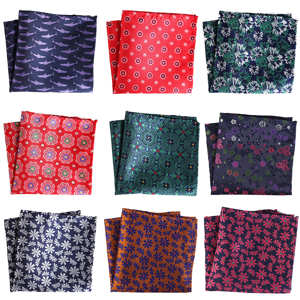 New Designers Men Handkerchief Pocket Square Popular 25 X 25CM Large Man Floral Dot Men Chest Hankies For Men's Suit