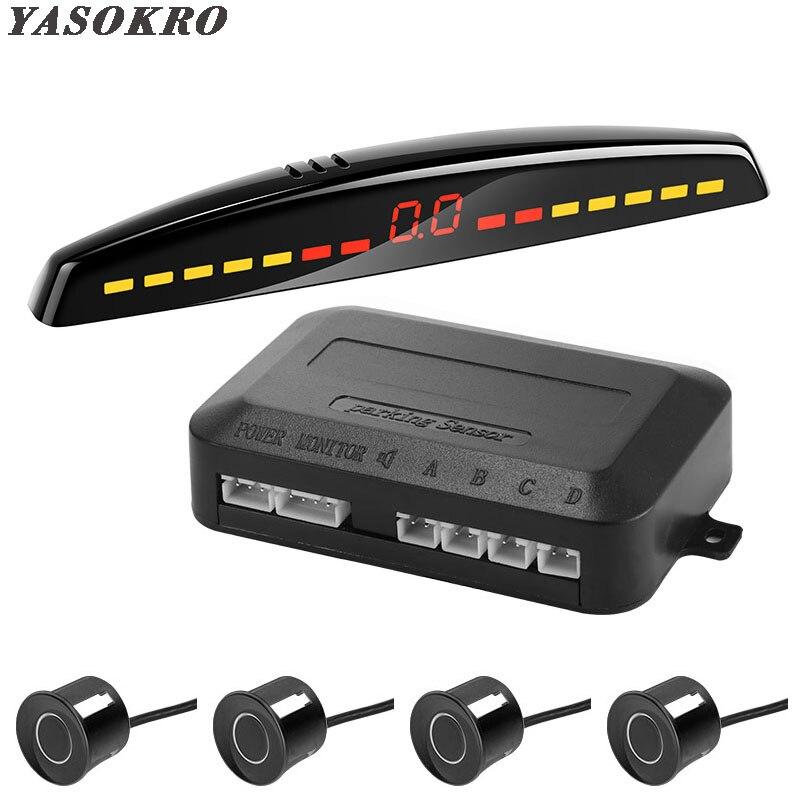 YASOKRO Parktronic Rivelatore Auto Auto Display A LED Sensore di Parcheggio Kit Reverse Assistenza di Sostegno Del Radar di Parcheggio del Monitor Auto-detector