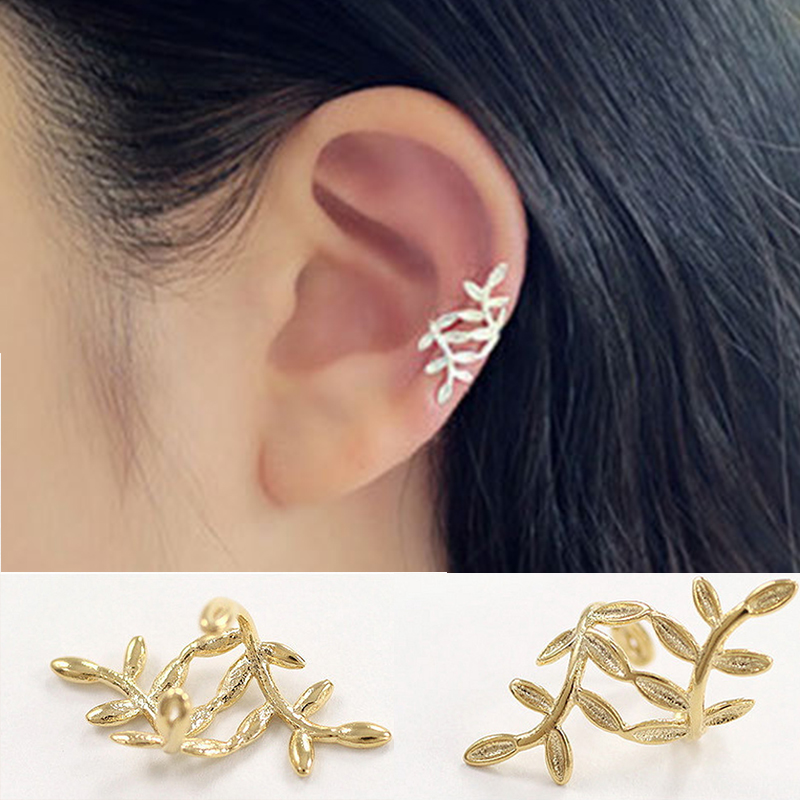 Серьги-клипсы золотого цвета в виде листьев для женщин, девушек, звезд, скалолазания, элегантные звёзды, клипса для ушей без отверстий