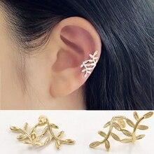 Gold Color Leaf EarCuff Clip On Earrings for Women Girl Stars Rhinestone Climbing Elegant Piercing Cartilage No Hole Ear Clip