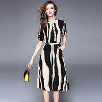 1pcs Ladies Plus size Sexy party dresses 2017Summer Fashion Chiffon prints stripe bodycon lace-up Dress women Skinny Dress Girls