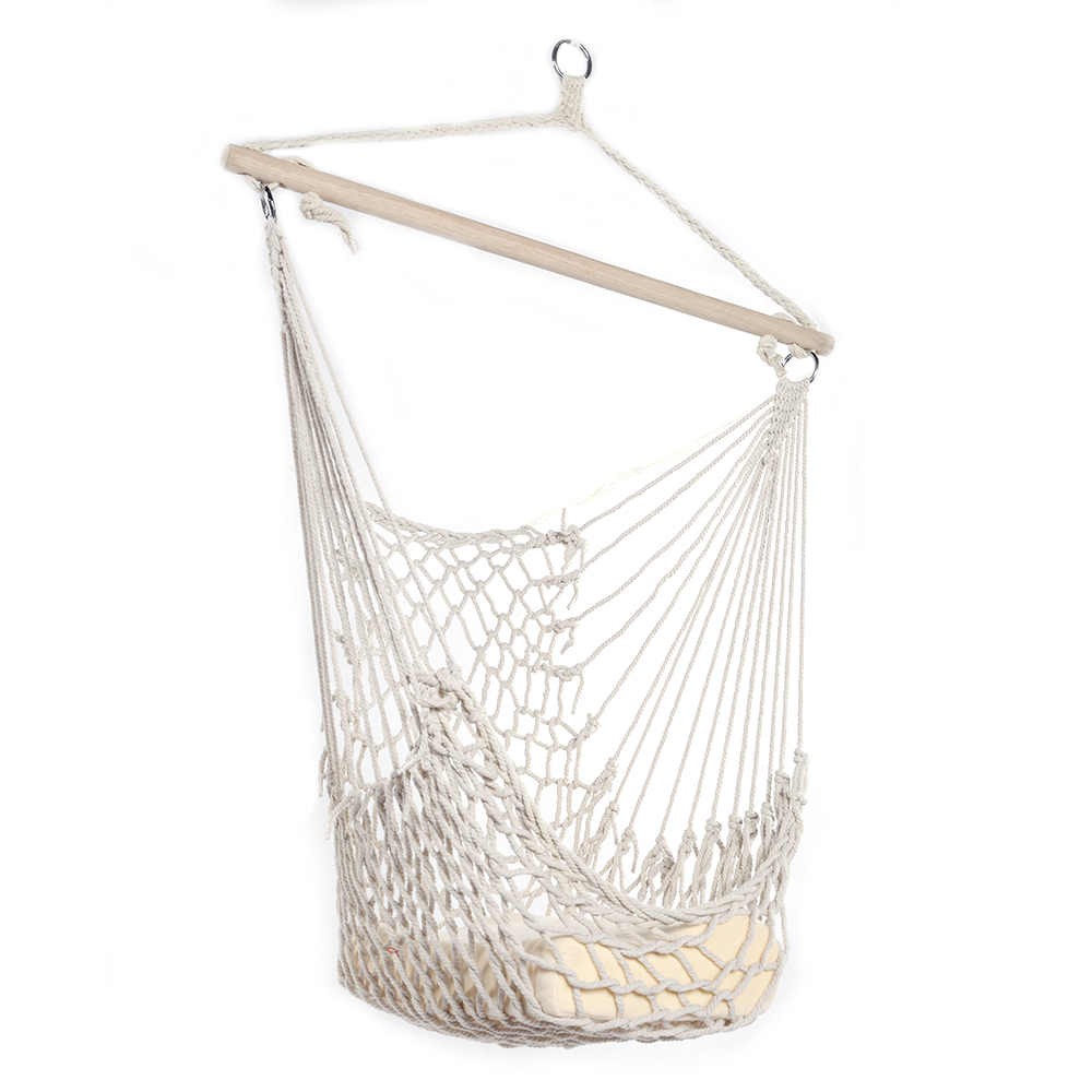 120KG Safety Cotton Hanging Swing Hammock Chair Canvas Rope Dormitory beige Swinging Chair Outdoor Indoor Camping Cottage Garden120KG Safety Cotton Hanging Swing Hammock Chair Canvas Rope Dormitory beige Swinging Chair Outdoor Indoor Camping Cottage Garden