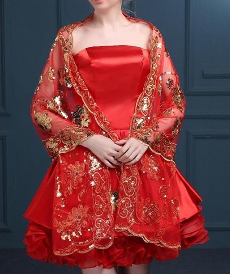 Sparkly Bröllop Bolero Vit Röd Capa Y Bolero Novia Jacka Kvinnor - Bröllopstillbehör - Foto 5
