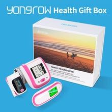 Yongrow جديد الأسرة الصحة هدية صندوق نبض مقياس التأكسج SpO2 المعصم ضغط الدم رصد الأذن الأشعة تحت الحمراء ميزان الحرارة ضغط الدم