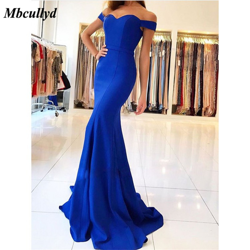 Mbcullyd Sexy Off the Shoulder   Prom     Dress   2019 Royal Blue Mermaid Formal Party Gowns Long Plus Size robe de soiree Free Shipping