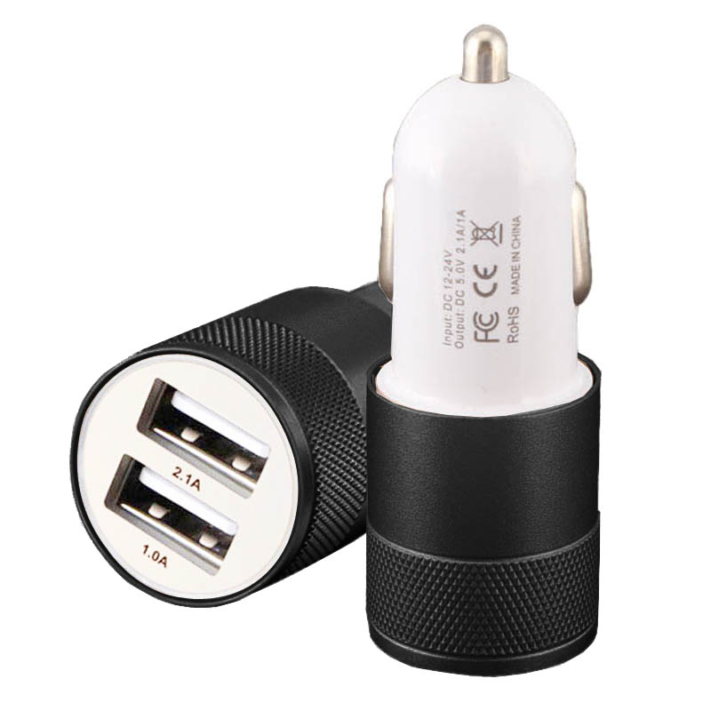 Car-Charger 12V to 24V, USB Car Charger for Mobile Phone 2A 1A Output Dual USB Port for Cellphones Pads Tablets