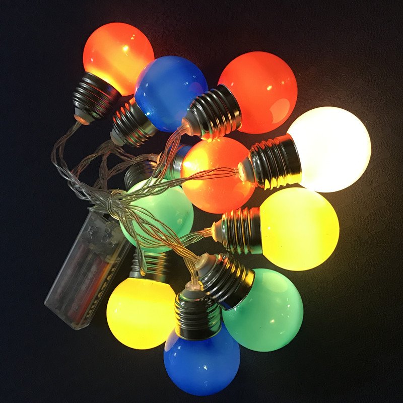 1.5/2m Colorful Led Edison Bulb Ball Lamp String Battery Powered