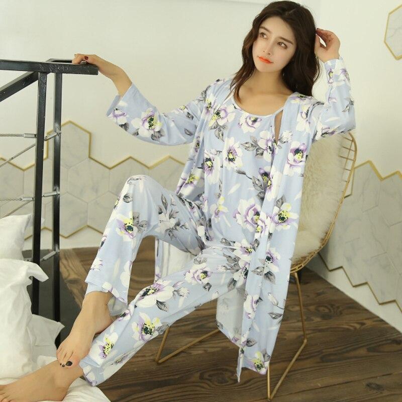 2018 Autumn Sexy Pijamas   Set   Women Sleep   Set   Deep O-neck Sexy Short Homewear Pijama Women   Pajama     Sets   Long Pant   Set   Robe Women