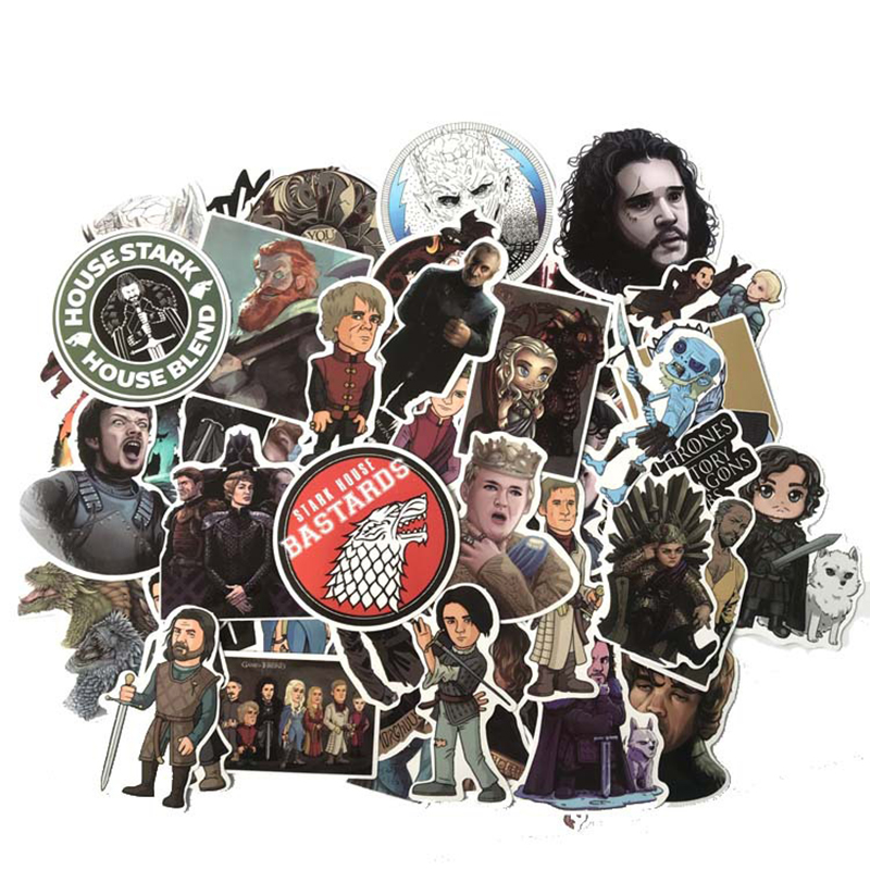 61pcs Cartoon Stickers Game Of Thrones Stickers War TV Series For Luggage Car Laptop Notebook Decal Fridge Skateboard Sticker F4