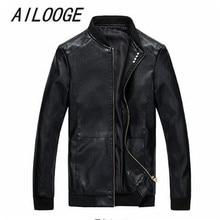 New Men Leather Jacket Fur Stand Collar PU Motorcycle Jaqueta Masculinas Jacket Men fashion Casual Parka