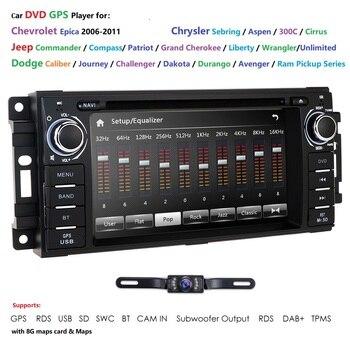 Ossuret Car Stereo GPS DVD Player for Dodge Ram Challenger Jeep Wrangler JK Head Unit Single Din GPS RDS SWC DAB Bluetooth Cam