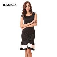 ILISMABA 2018 new ladies fashion sexy không tay váy màu chính tả mào đuôi cá ăn mặc nữ của mang nhãn hiệu trang phục