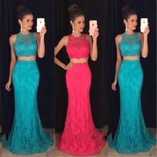 FG72 Elegant Long Lace Mermaid  Two Piece Prom Dresses 2016 New Arrival Beaded Appliques Party Evening Dress For Graduation