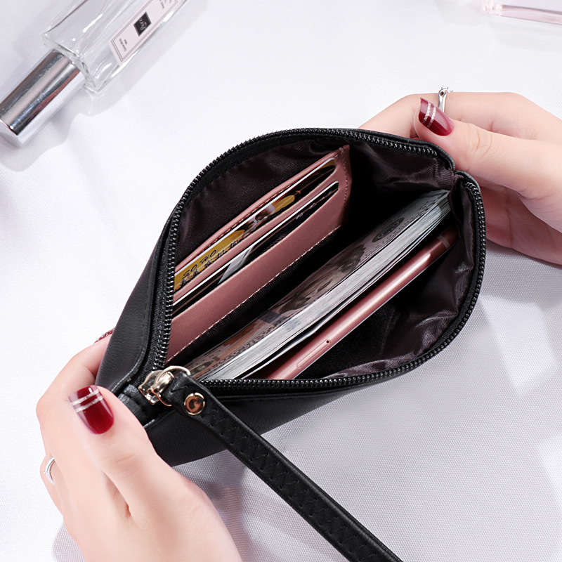 MONNET CAUTHY New Arrivals Women's Wallets Concise Leisure Fashion Cell Phone Pocket Solid Color Navy Blue Black Red Long Wallet