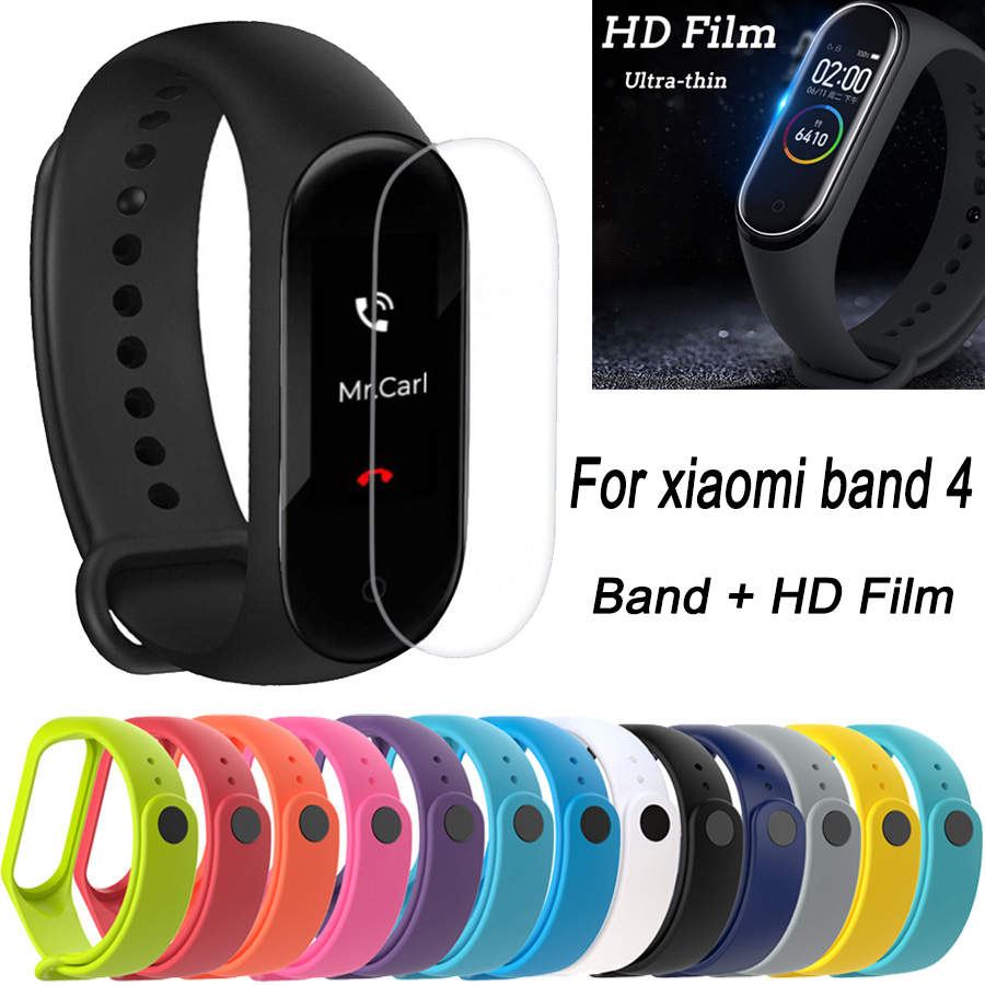 Silicone Watch Band Strap With HD Film Screen Protector For Xiaomi Mi Band Miband 4 Wristband Replacement Bracelet Watchband