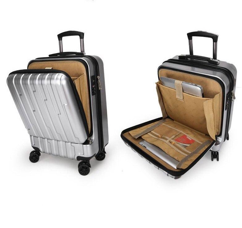 Bagaj ve Çantalar'ten Hardside Bagaj'de 20 inç Açılış cep haddeleme bagaj spinner arabası çantası bilgisayar bagaj bavul'da  Grup 1