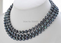 Free Shipping >>>49 INCH HOT SELL 8 9MM tahitian GENUINE black PEARL NECKLACE