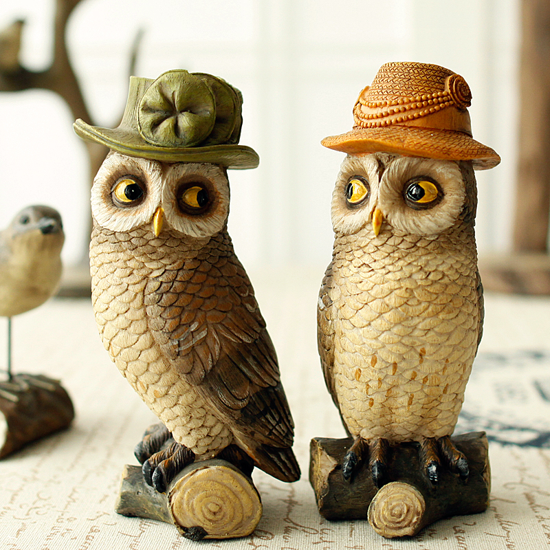 A Some new American resin hat owl Home Furnishing decor American Nordic Owl Crafts European living room art Home Statue