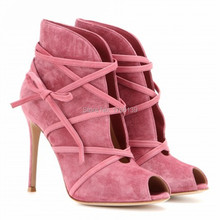 Fashion Suede Lace Up Women Ankle Boots Peep Toe Short Booties Strappy High Heels Summer Boots Women Pumps Botines Mujer
