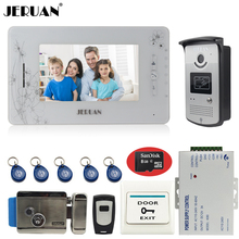 "JERUAN 7"" video doorphone intercom system monitor video recording phone access control system+electronic lock+8GB Card"