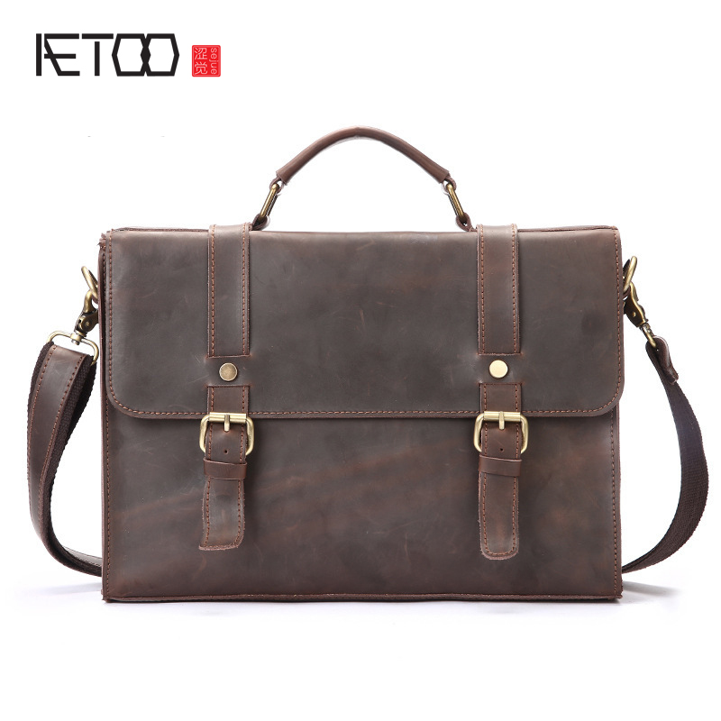 AETOO New first layer of leather men bag handbag mad horse skin retro business briefcase leather computer bag briefcase men s style leather casual male mad horse skin retro brown leather men s business package handbag 2017 the latest