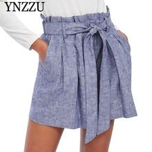 YNZZU Summer high waist blue women shorts With belt elastic short bottom 2019 New Pleated causal Bermuda YB340