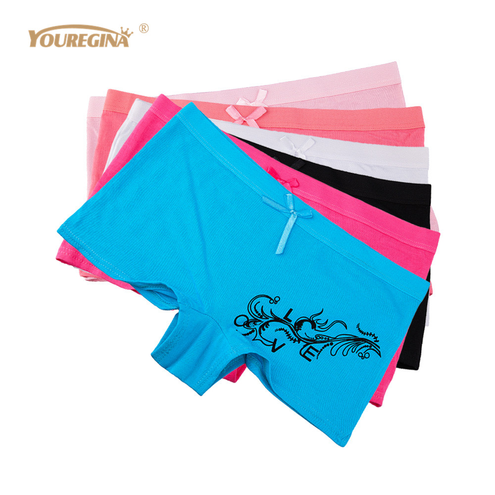 YOUREGINA Woman Boyshorts Underwear Women Cotton   Panties   Ladies Boxers Shorts Underpants Intimates Lingerie for Women 6pcs/lot
