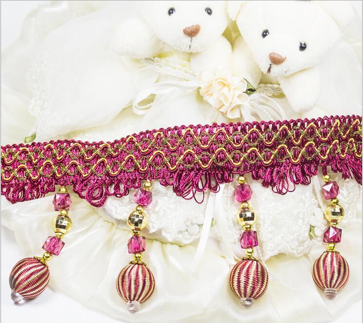 accesorios de costura de encaje recorta adornos de cristal con cuentas cinta de encaje bordado de