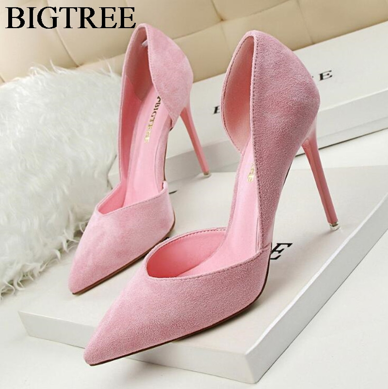 New Women Pumps Classics High Heels Shoes Fashion Suede Flock Pink Sexy Slim Pointed OL Office Heeled Shoes Hollow Elegant 34-39 gtime new pumps thin sexy high heeled shoes pointed suede hollow out bowknot tassel ol elegant shallow women shoes zws261