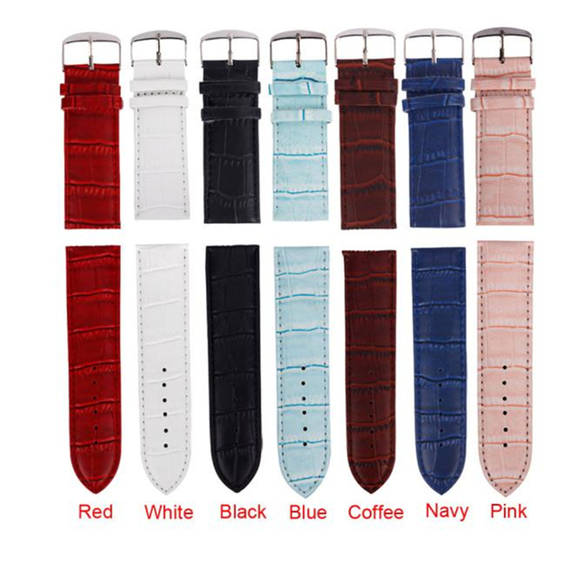 High Quality 12mm Soft Sweatband Leather Strap Steel Buckle 7 Colors Leather Wri