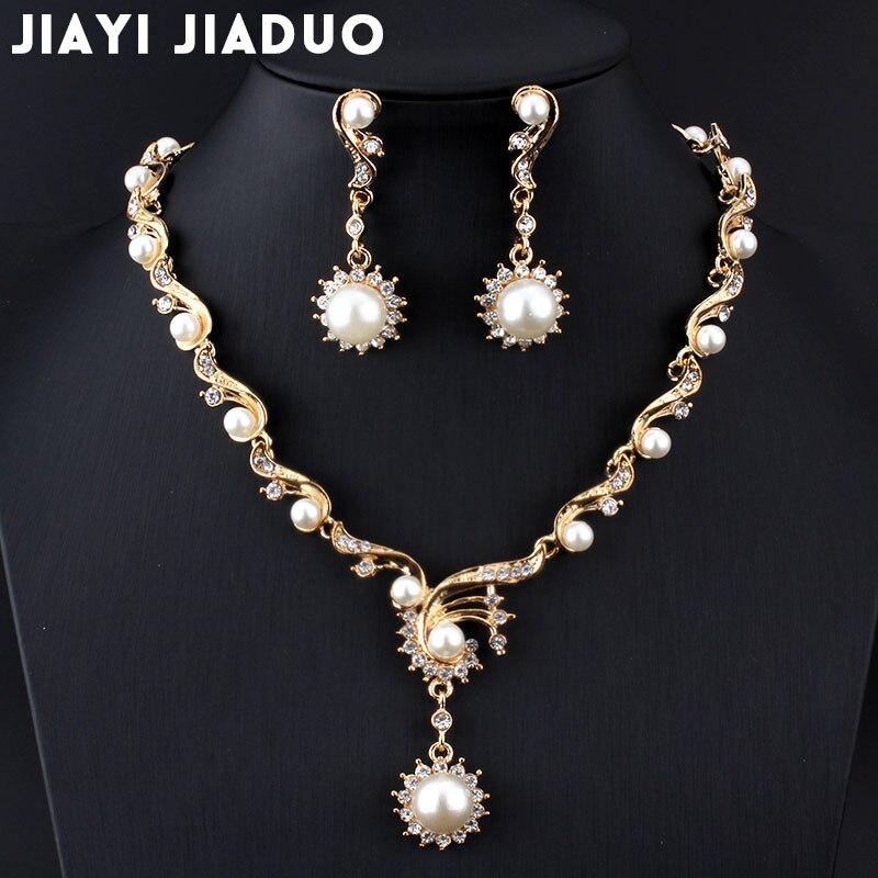 Brautschmuck Sets Jiayijiaduo Neue Mode Afrikanische Frauen Schmuck Sets Für Frauen Perle Gold-farbe Imitation Perle Halskette Ohrringe Geschenk Diversifizierte Neueste Designs Schmuck & Zubehör