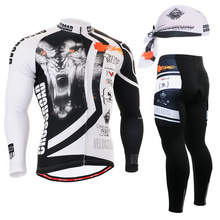 2016  Winter Team Bicycle Bike Jacket sets animal printed Cycling Long sleeve set gel padded Cycling clothes Tiger outdoor wear